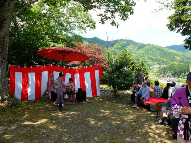 城跡で野点の会|福知山市三和町川合村