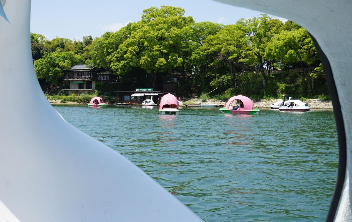 岡山 後楽園近く スワンボート